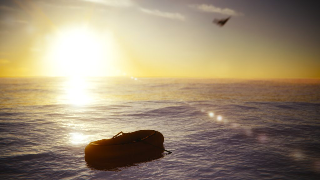 Schlauchboot auf dem Meer